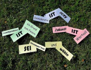 beschriftete Karten auf einer Grasfläche. Beschriftung: Freiwilligendienst ist ein Grund zum Feiern; Demokratie ist sexy; Zukunft ist wertvoll; Sei Ehrenmann*frau und wähle